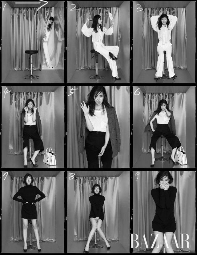 : (가운데 줄) 티셔츠, 스틸레토 힐, 백은 모두 Saint Laurent, 팬츠는 Vivienne Westwood, 더블 코트는 Joseph, 선글라스는 Linda Farrow by Handok 제품.