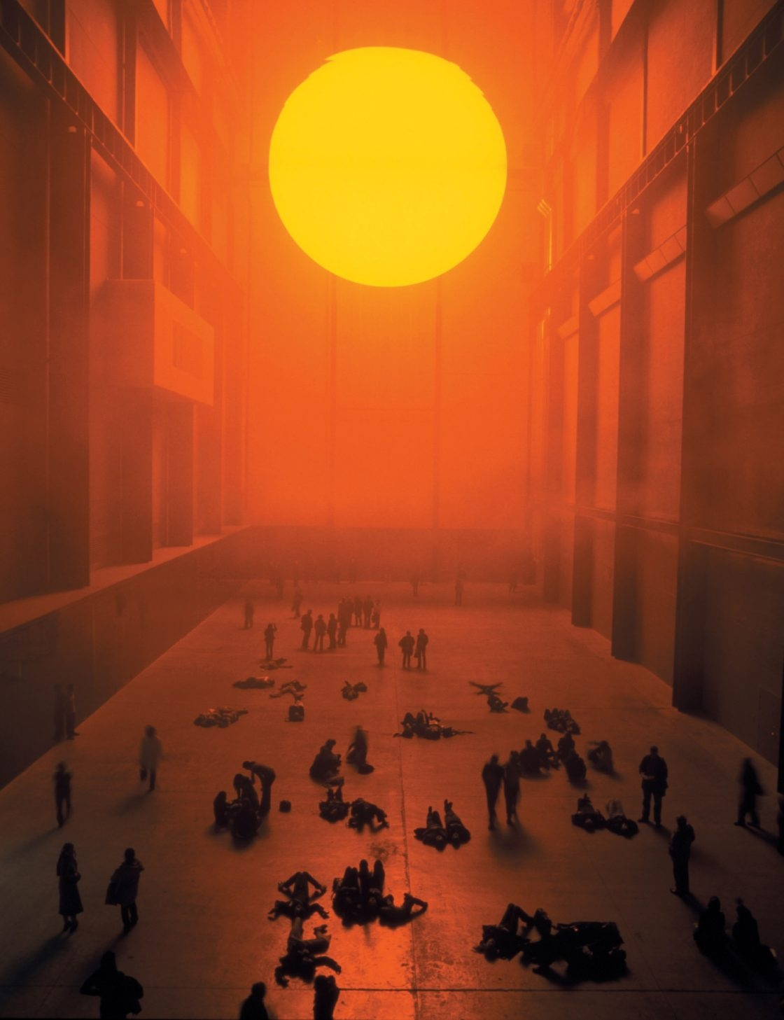 'The weather project', Monofrequency lights, projection foil, haze machines, mirror foil, aluminium, scaffolding, 26,7m×22,3m×155,44m, Tate Modern, London, 2003 Photo: Andrew Dunkley & Marcus Leith, Courtesy of the artist; neugerriemschneider, Berlin; and Tanya Bonakdar Gallery, New York © Olafur Eliasson