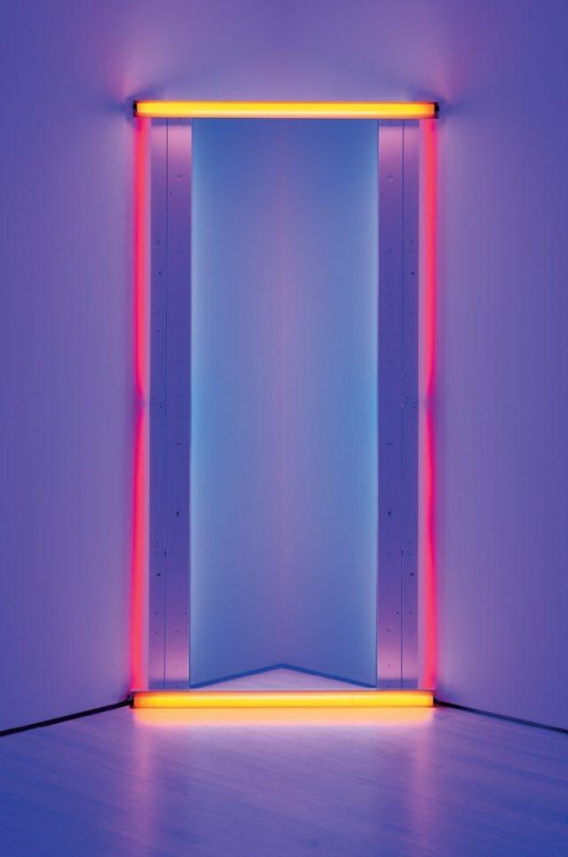 댄 플래빈(Dan Flavin), 'Untitled (to Barnett Newman) Two', Red, Yellow, and Blue Fluorescent Lights, 243.84×121.92cm, 1971