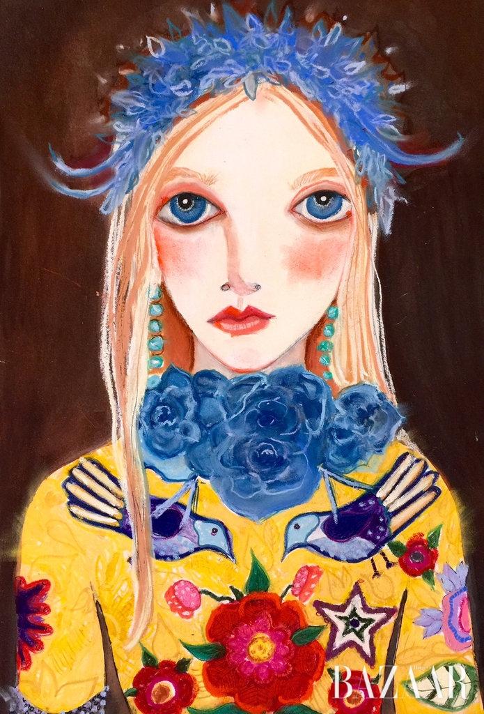<strong>Helen Downie</strong> 음침한 초상화 일러스트로 알레산드로 미켈레의 취향을 저격한 헬렌 다우니. 어찌나 맘에 들었는지 미켈레표 뉴 구찌의 혁신적인 변화를 위해 그녀를 '즉각 소환'했다고.