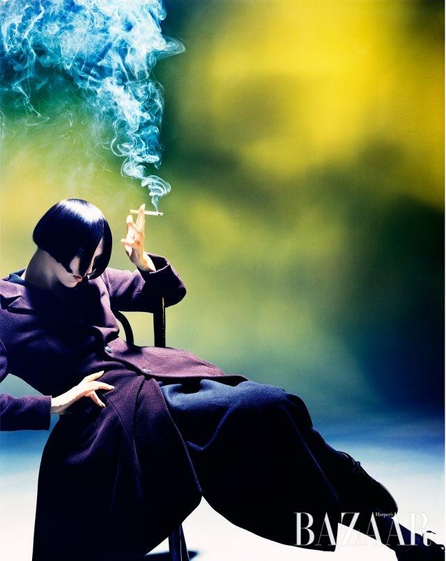 Susie Smoking, Susie Bick for Yohji Yamamoto, 1988