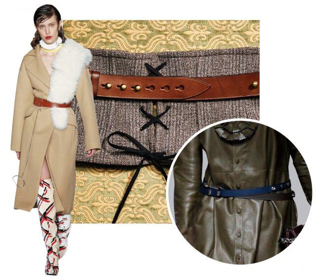 뷔스티에는 가격 미정, 가죽 벨트는 50만원대로 Prada 제품.