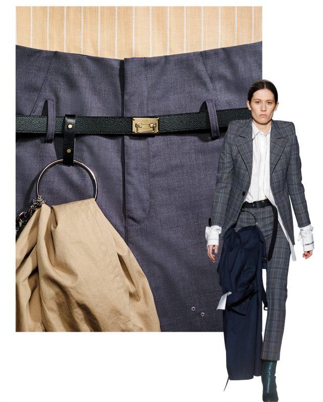 클래식한 버클 벨트는66만5천원으로 Louis Vuitton, 메탈 소재의 링이 장식된 팬츠는27만원으로 R.Shemiste, 트렌치코트는 가격 미정으로 Nohant 제품