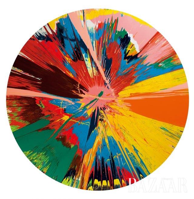 데미언허스트(DamienHirst),'Beautiful,Shattering,Slashing,Violent,Pinky,Hacking,SphincterPainting',HouseholdGlossonCanvas,212.5cm,1995