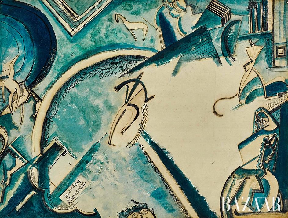 퍼시 윈덤 루이스(Percy Wyndham Lewis), 'Circus Scene', Pen and Ink, Watercolour and Gouache, 23.5 by 31.5cm, 1913-1914