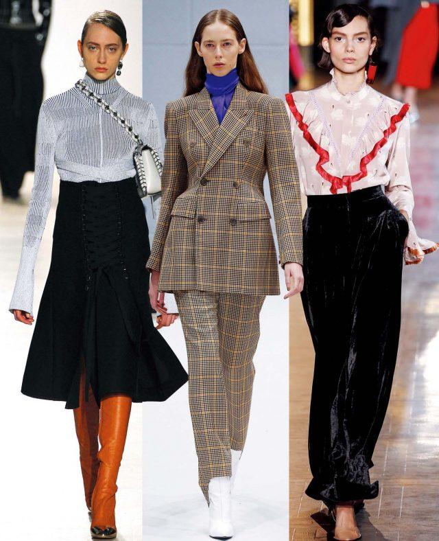 왼쪽부터. Midi Skirt Proenza Schouler, Tailored Jacket Balenciaga, Velvet Pants Stella McCartney