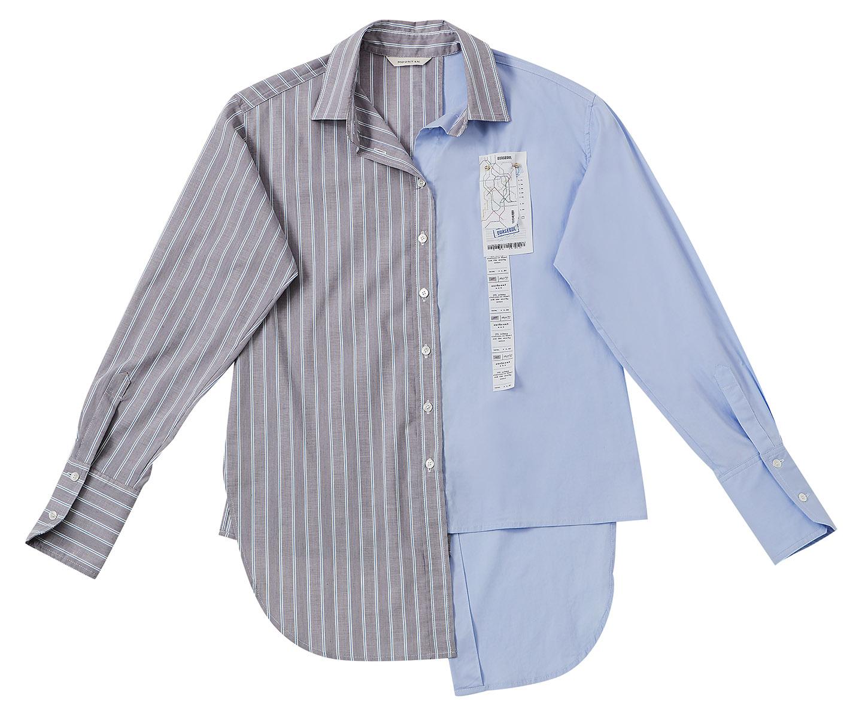 두 가지 소재로 재단된 비대칭 헴 라인 셔츠는 23만8천원으로 <strong>Moontan by Beaker</strong>