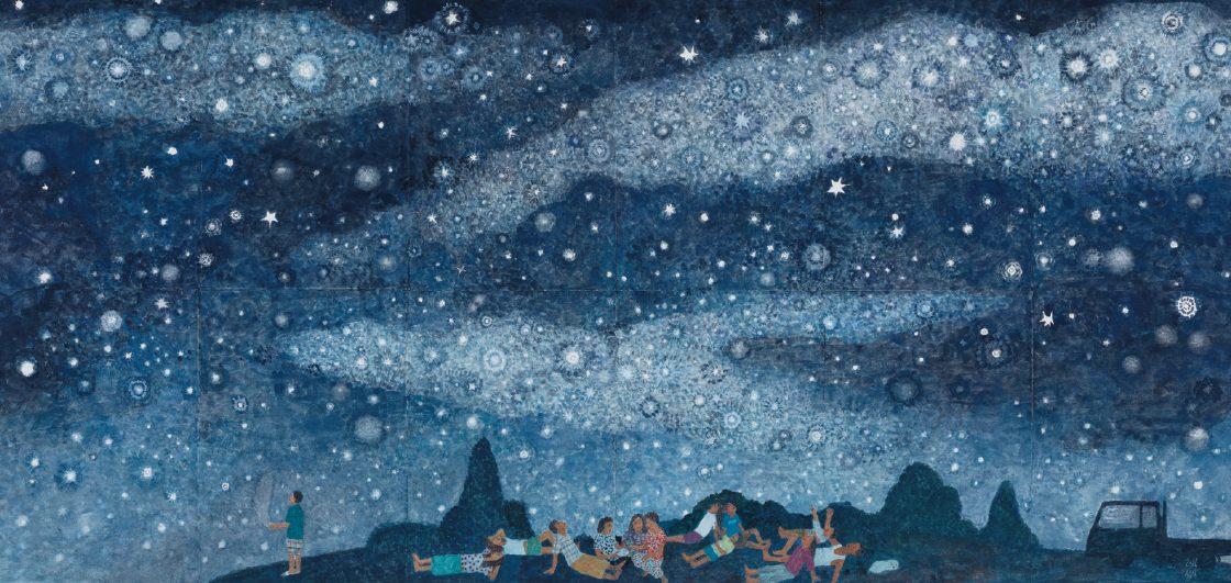 문성식, '별이 빛나는 밤에', 종이에 과슈, 2016