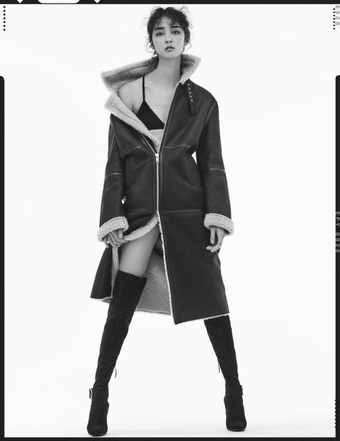 롱 무톤 재킷은 1백78만원으로 Instant Funk, 스웨이드 사이하이 부츠는 2백48만원으로 Giuseppe Zanotti 제품.