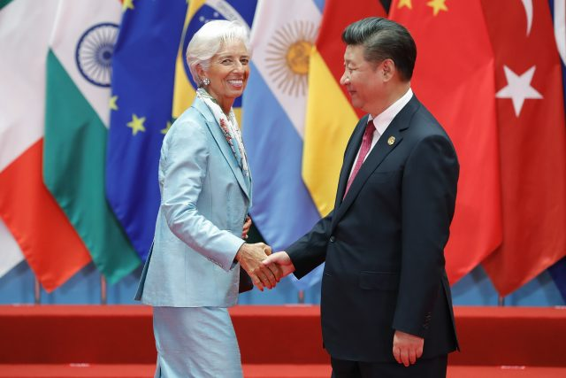 HANGZHOU, CHINA - SEPTEMBER 04: Chinese President Xi Jinping (right) shakes hands with Christine Lagarde, Managing Director of the International Monetary Fund (IMF) during the G20 Summit at the Hangzhou International Expo Center on September 4, 2016 in Hangzhou, China. World leaders are gathering in Hangzhou for the 11th G20 Leaders Summit from September 4 to 5. (Photo by Lintao Zhang/Getty Images)