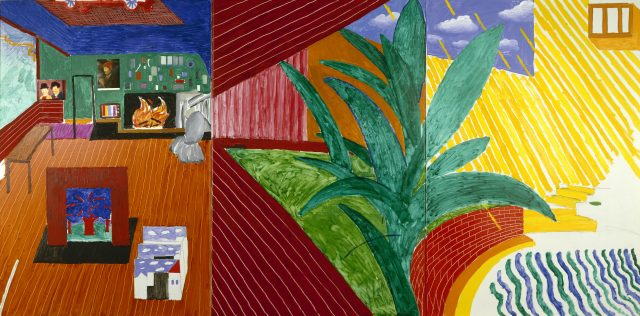 HOLLYWOOD HILLS HOUSE 1981/2OIL, CHARCOAL & COLLAGE ON CANVAS60 X 120© DAVID HOCKNEY