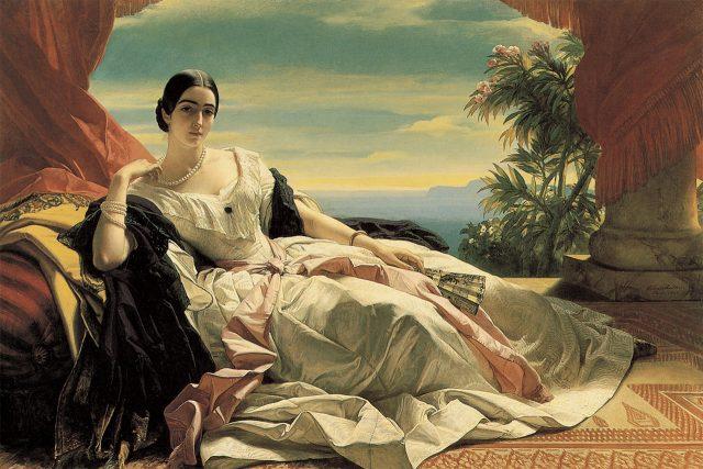 프란츠 크사버 빈터할터, '레오닐라의 초상', 1843, 캔버스에 유채, 142.23×212.08cm, 로스앤젤레스 폴 게티 미술관