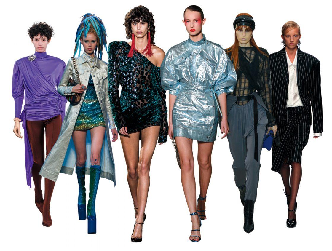 Spandex Leggings(Balenciaga) / Disco Boots(Marc Jacobs) / Statement Shoulder(Saint Laurent) / Glittering Fabric(Kenzo) / Slouch Pants(Louis Vuitton) / Classic Power Suit(Jil Sander)