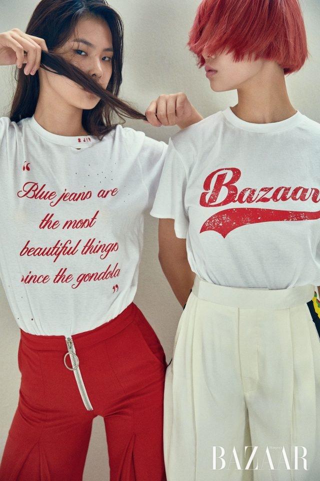 (왼쪽부터) 빈티지한 소재에 필기체로 새긴 슬로건이 조화를 이루는 티셔츠는 SJYP, 집업 디테일의 팬츠는 1백50만원으로 Off White 제품. 베이스볼 티셔츠를 연상시키는 로고 티셔츠는 YCH, 실크 팬츠는 3백47만원으로 Céline 제품.