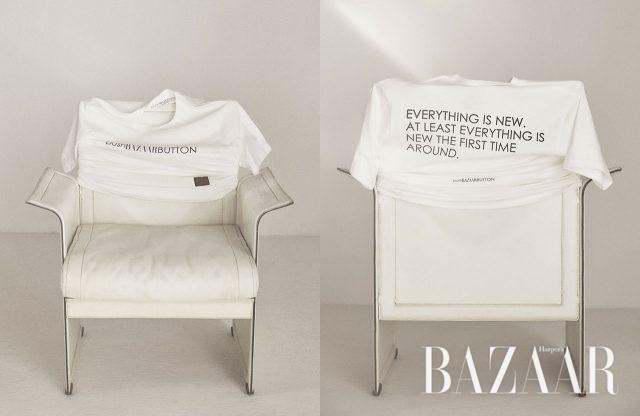 와 푸시 버튼의 로고를 위트 있게 변형한 '푸시바자버튼' 티셔츠는 Push BUTTON 제품.