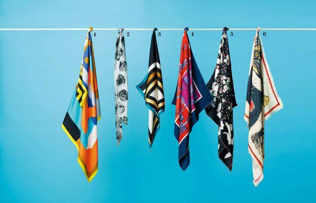 1 도형 프린트의 스카프는 가격 미정으로 Hermès 2 헨리 무어의 작품에서 영감을 받은 스카프는 24만원으로 Burberry 3 디바 컬렉션 주얼리 모티프의 스카프는 41만원으로 Bulgari 4 컬러 조합이 돋보이는 스카프는 가격 미정으로 Hermès 5 페미닌한 프린트의 스카프는 가격 미정으로 Valentino Garavani 6 호랑이 프린트의 스카프는 61만원으로 Gucci 제품.