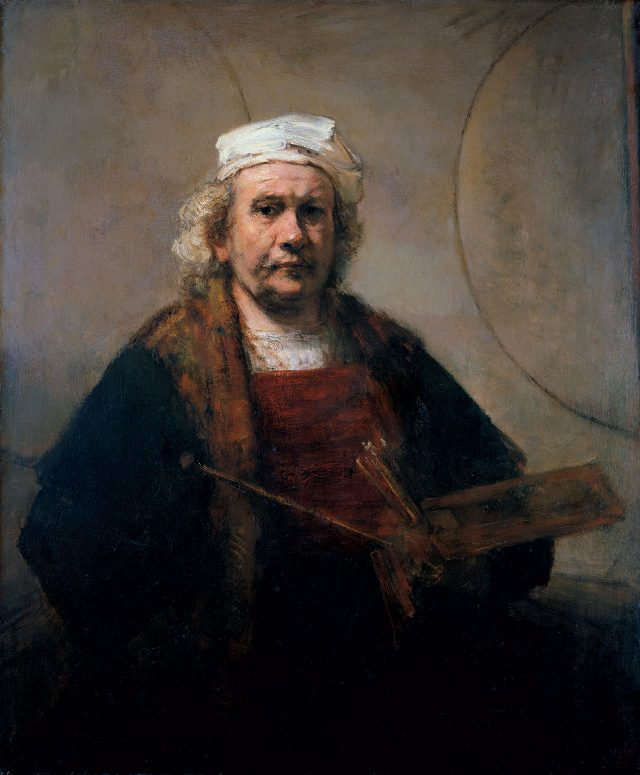렘브란트 판 레인, 'Self-Portrait with Two Circles', c. 1665-69, Oil on canvas, 114.3 cm×94cm, Courtesy Kenwood House, Iveagh Bequest/English Heritage