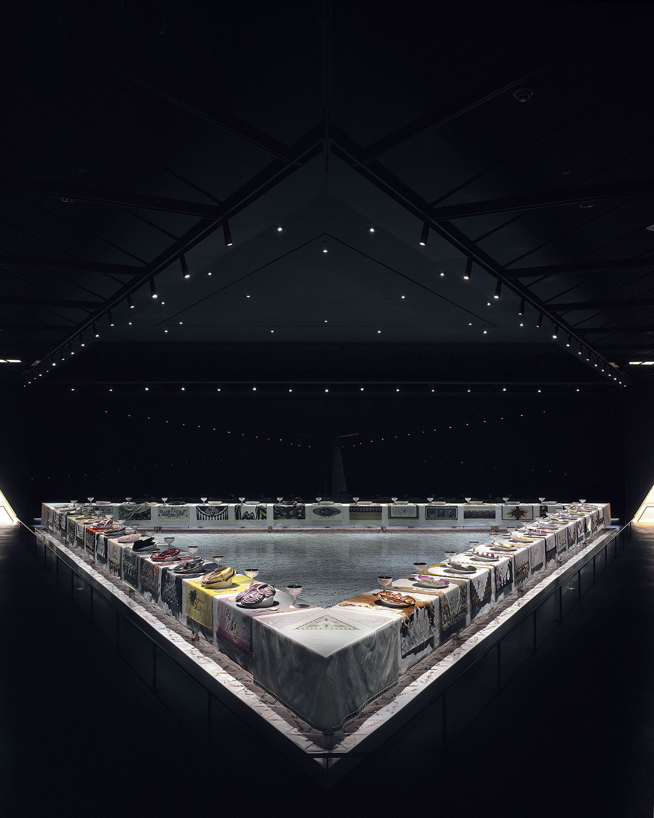 'The Dinner Party', 1974-79. Ceramic, porcelain, textile, 1463×1463cm, Brooklyn Museum, Gift of the Elizabeth A. Sackler Foundation, 2002.10. © 2017 Judy Chicago / Artists Rights Society (ARS), New York. (Photo © Donald Woodman)
