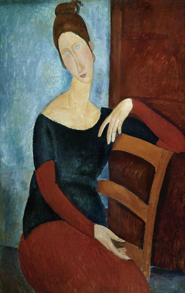 아메데오 모딜리아니, 'Portrait of the Artist's Wife, Jeanne Hebuterne', 1918, Oil on Canvas, 101×65.7cm