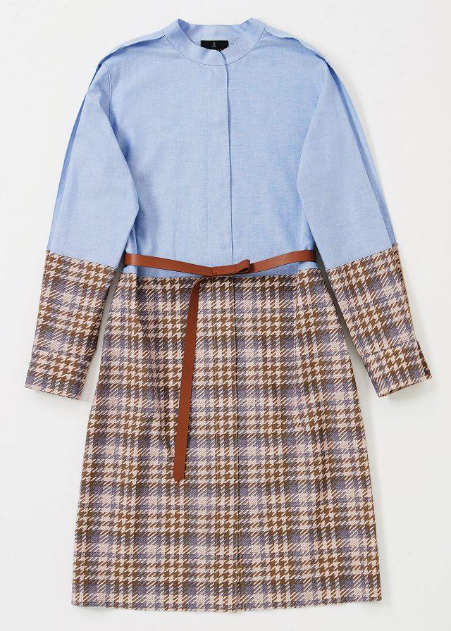 체크패턴이 블로킹된 셔츠 원피스는 89만5천원으로 Lanvin Collection