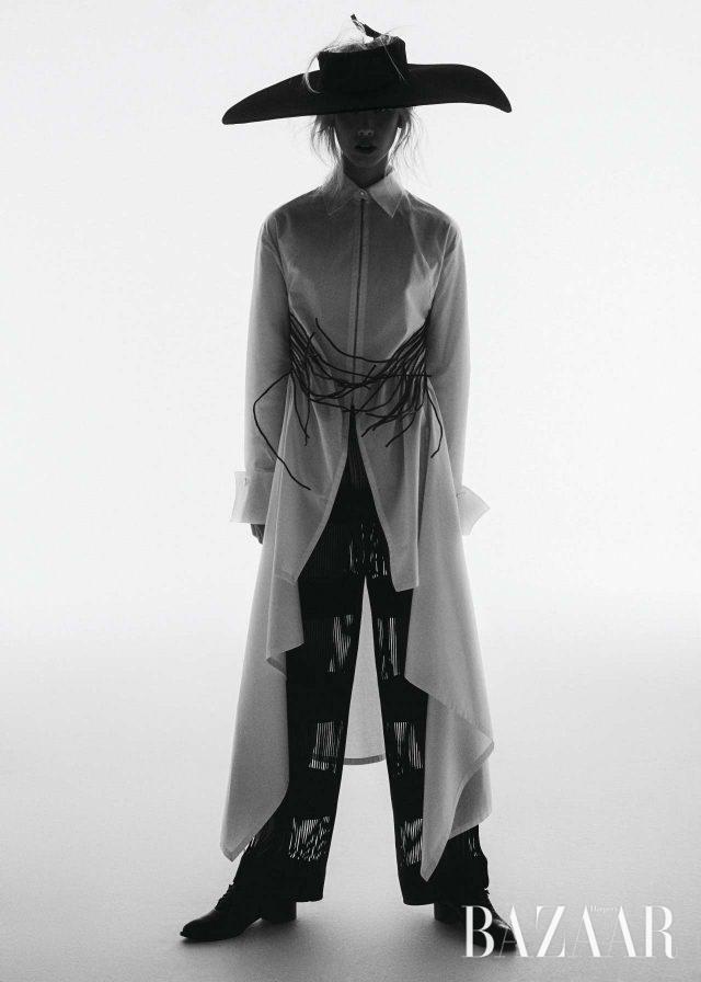 아방가르드. 1993 S/S 시즌의 화이트 셔츠 룩.모델/ 이정문 헤어/ 이영재 메이크업/ 이자원