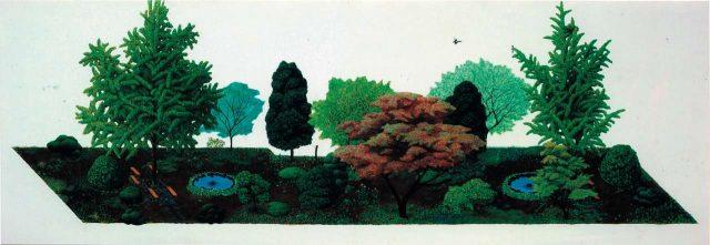 '직사각형정원', 캔버스에 아크릴릭,112×324cm, 2004,Courtesy of the artist and Kukje Gallery 이미지 제공: 국제 갤러리