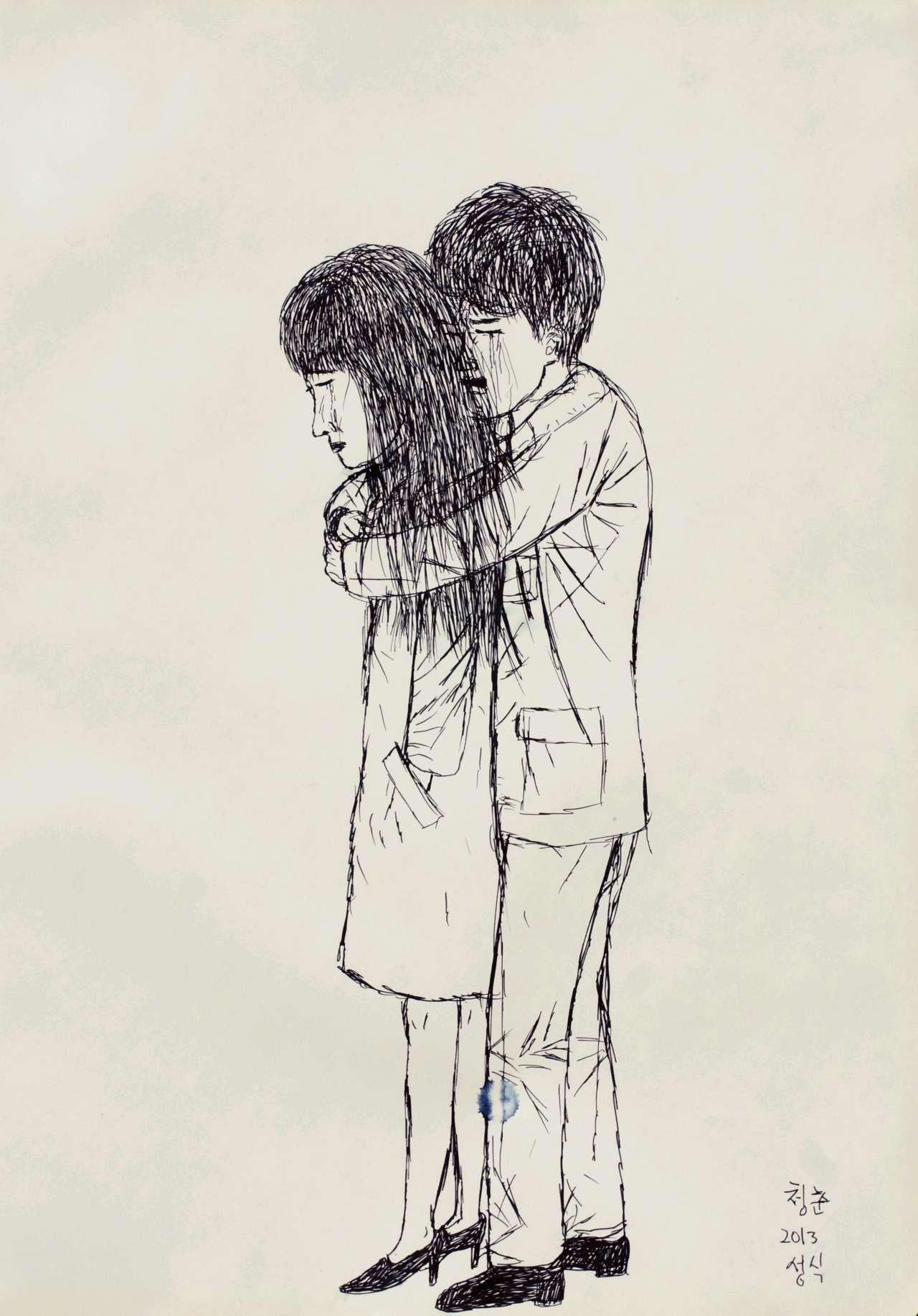 '청춘', 종이에 잉크,42×29.4cm, 2013,Courtesy of the artist and Kukje Gallery 이미지 제공: 국제 갤러리