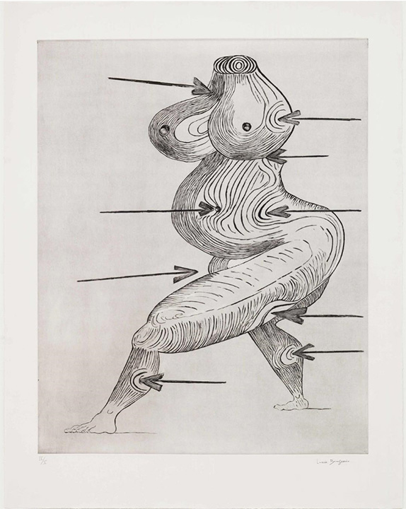 """Louise Bourgeois. """"Sainte Sébastienne."""" 1992. Drypoint. The Museum of Modern Art, New York. Gift of the artist. © 2017 The Easton Foundation/Licensed by VAGA, NY"""