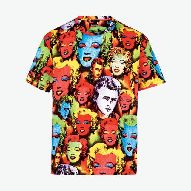 트리뷰트 컬렉션의 팝아트 프린트 티셔츠는 가격 미정으로 Versace