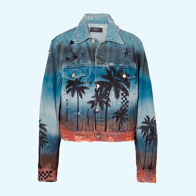 하와이안 프린트가 가미된 데님 재킷은 162만원대로 Amiri by Net-A-porter