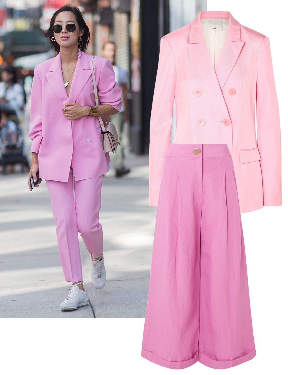 새틴 소재의 테일러드 재킷은 Tibi, 와이드 팬츠는 Rejina Pyo.