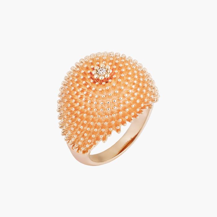 조각 작품과도 같은 볼드한 선인장 모티프의 칵투스 드 까르띠에 컬렉션 링은 Cartier 제품.