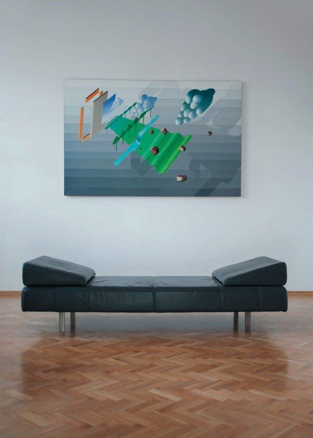 마르친 코바리크(Marcin Kowalik)의 페인팅 'Landscape Elements'(2007) 설치 장면.