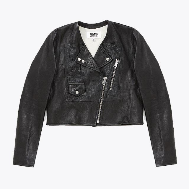 크롭트 가죽 재킷은  MM6