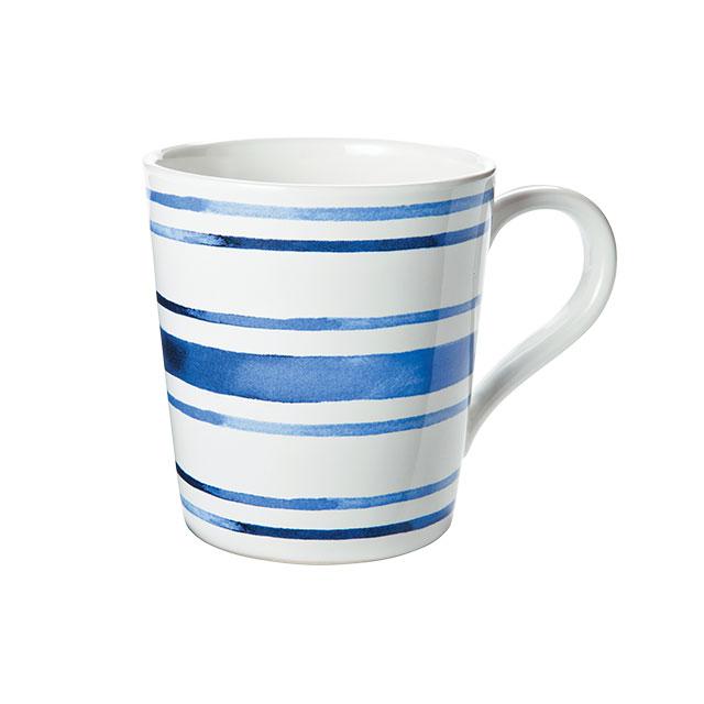 블루 스트라이프 컵은 Ralph Lauren Home