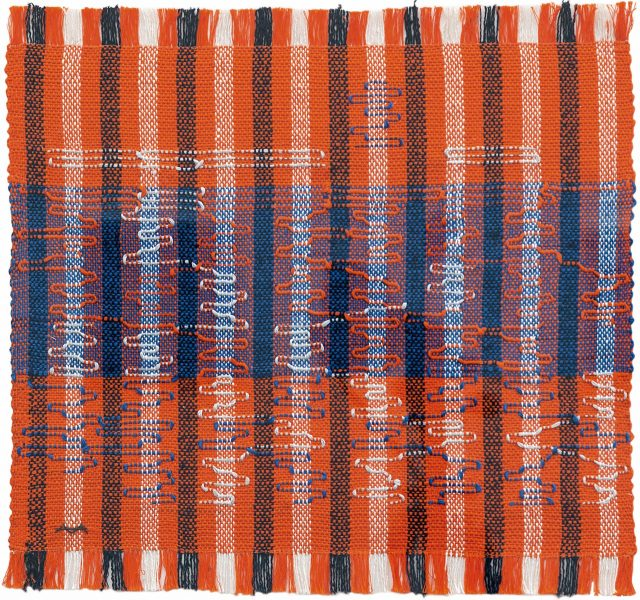 'Intersecting', 1962, 400×419mm, Pictorial weaving, cotton and rayon.