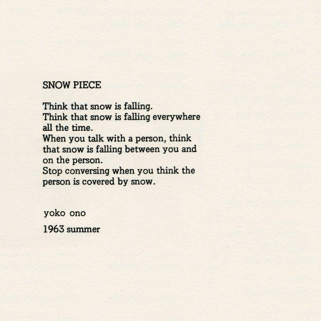 작품집 Grapefruit 중'Snow Piece', 1963.
