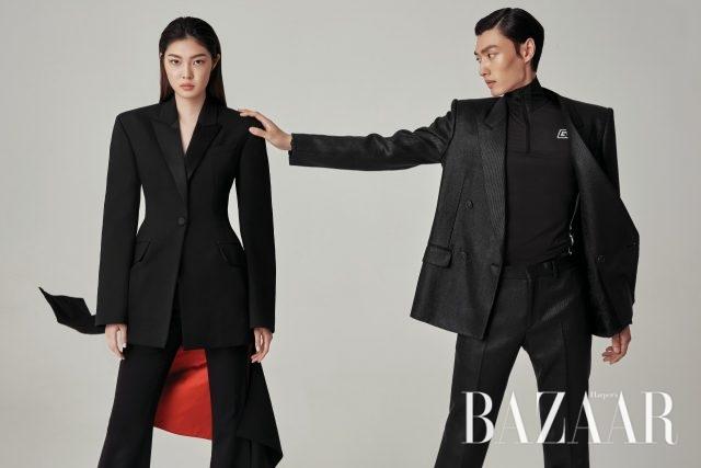 턱시도 코트를 변형한 재킷은 467만원, 팬츠는 208만원으로 모두 Alexander McQueen. / 재킷과 팬츠, 톱은 모두 Givenchy.