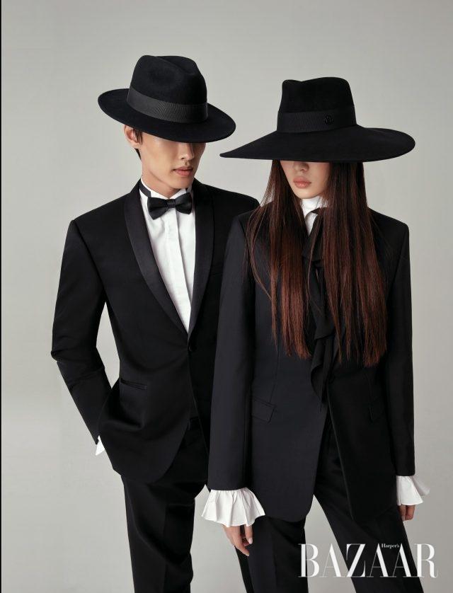 (왼쪽부터) 남자 모델이 착용한 페도라는 11만5천원으로 Ordinary Day by Shinjeo, 턱시도 재킷과 팬츠는모두 Sandro Homme, 셔츠는 Zara, 보타이는 1만7천원으로 H&M.여자 모델이 착용한 와이드 페도라는 70만원대로 Maison Michel byNet-A-Porter, 턱시도 재킷과팬츠는 모두 Dior Homme,시폰 보타이가 부착된셔츠 블라우스는 20만원대로Polo Ralph Lauren.