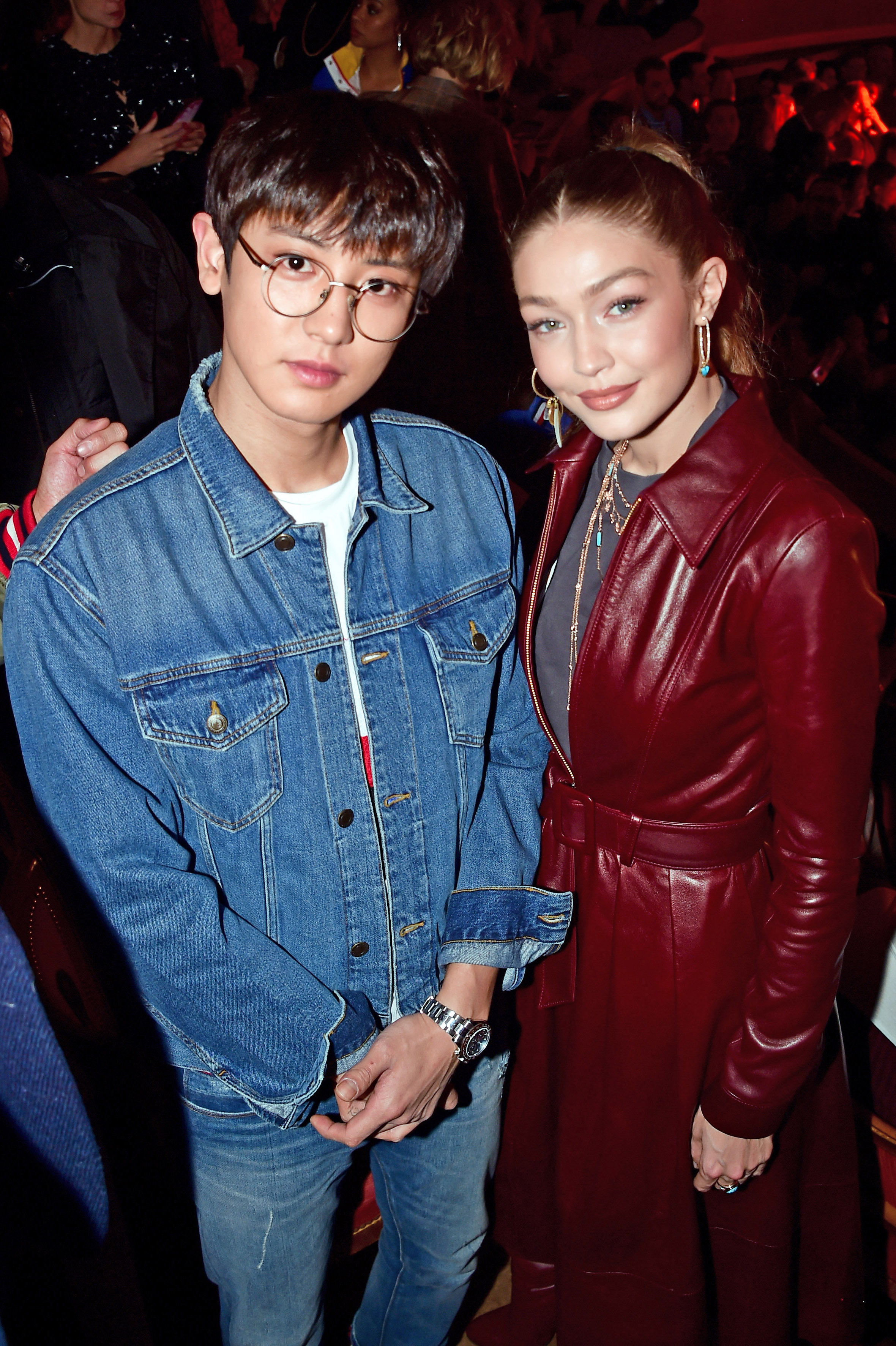 PARIS, FRANCE - MARCH 02: (L-R) Chanyeol Park and Gigi Hadid attend the Tommy Hilfiger TOMMYNOW Spring 2019 : TommyXZendaya Premieres at Theatre des Champs-Elysees on March 02, 2019 in Paris, France. (Photo by Anthony Ghnassia/Getty Images For Tommy Hilfiger)