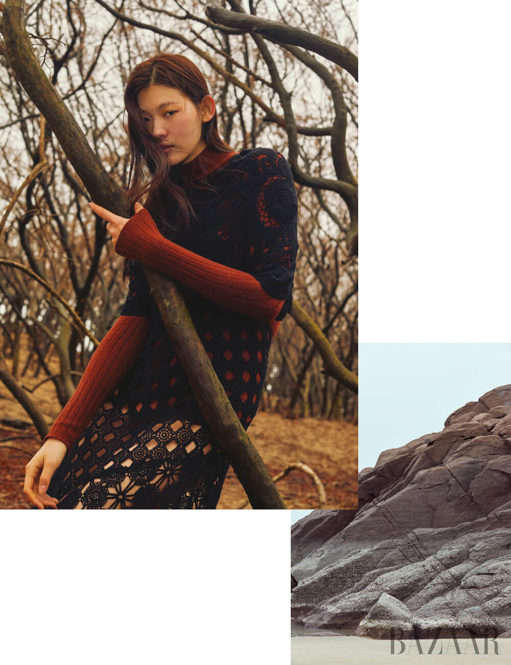 터틀넥 니트 톱, 드레스, 브리프는 모두 Dior.