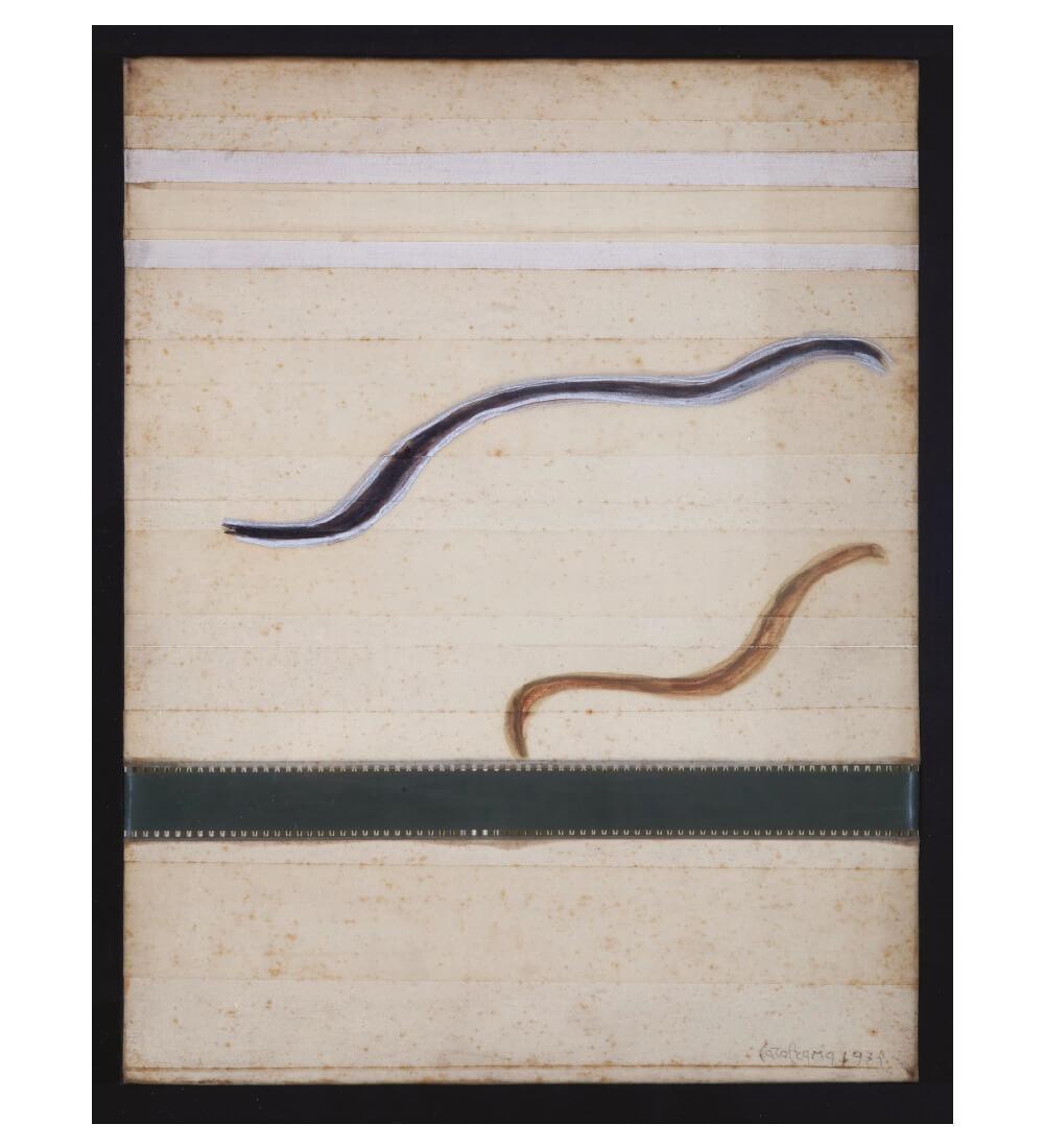카롤 라마, 'Luogo e Segni', 1975, 패치, 캔버스에 필름 포토그래피와 펠트 팁 펜, 44×34×2cm(Without frame). Pinault Collection Photo: Pino Dell'Aquila © Archivio Carol Rama, Torino