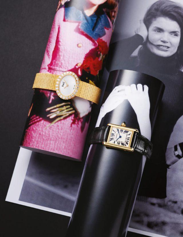 (왼쪽부터) 24개의 브릴리언트 컷 다이아몬드가 세팅된 '익스트림리 레이디' 시계는 가격 미정 Piaget, 클래식함을 간직한 '탱크 루이 까르띠에' 시계는 가격 미정 Cartier.