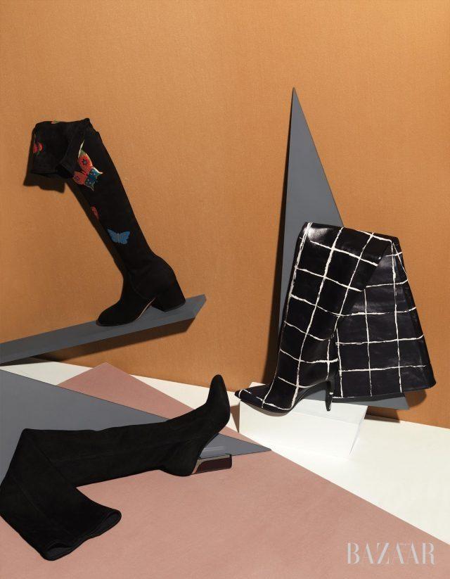 THIGH–HIGH CHIC (위부터 시계 방향으로) 화려한 나비 패턴으로 포인트를 준 사이하이 부츠는 가격 미정으로 Valentino Garavani, 허벅지를 다 덮는 맥시한 길이에 체크 패턴을 더한 사이하이 부츠는 가격 미정으로 Balenciaga, 스웨이드 소재의 미니멀한 사이하이 부츠는 가격 미정으로 Dior 제품.