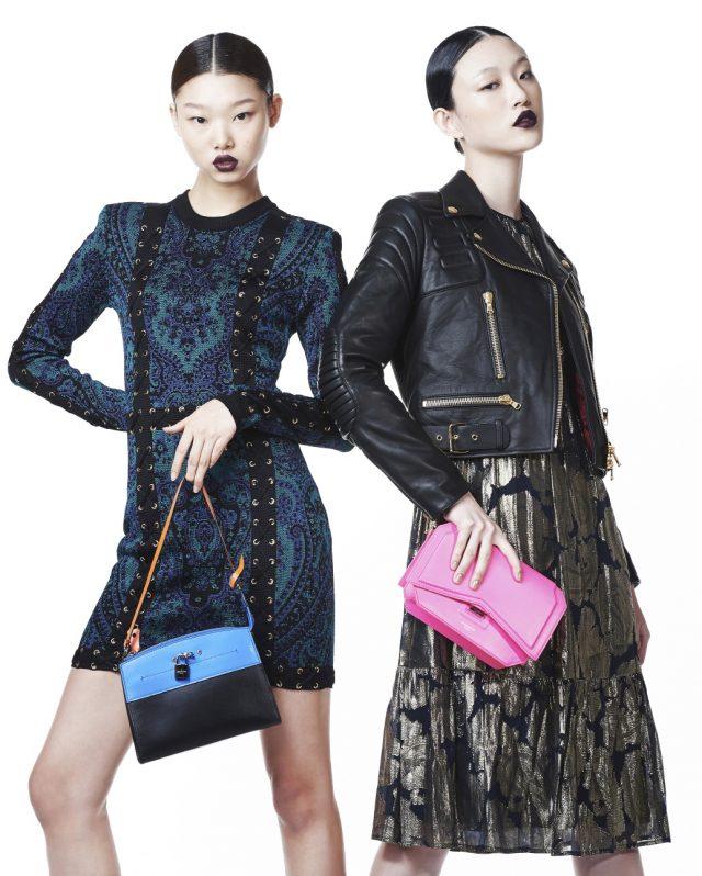 (왼쪽부터) 페이즐리 패턴 미니 드레스는 Balmain, 토트백은 2백만원대로 Louis Vuitton 제품. 라이더 재킷은 Moschino, 플라워 브로케이드 드레스는 Michael Michael Kors, 클러치는 Givenchy by Riccardo Tisci 제품.
