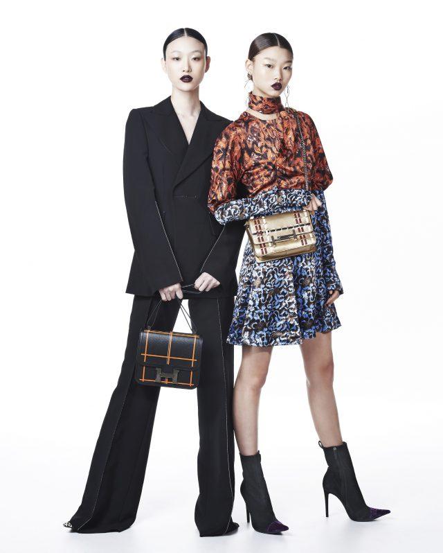 (왼쪽부터) 테일러드 재킷, 와이드 팬츠는 모두 Calvin Klein Collection, 체크 토트백은 Hermès, 슈즈는 Haider Ackermann 제품. 패턴 드레스는 Dior, 드롭 귀고리는 Louis Vuitton, 스티치 디테일의 체인 백은 2백20만원대로 Tod's, 앵클부츠는 Haider Ackermann 제품.
