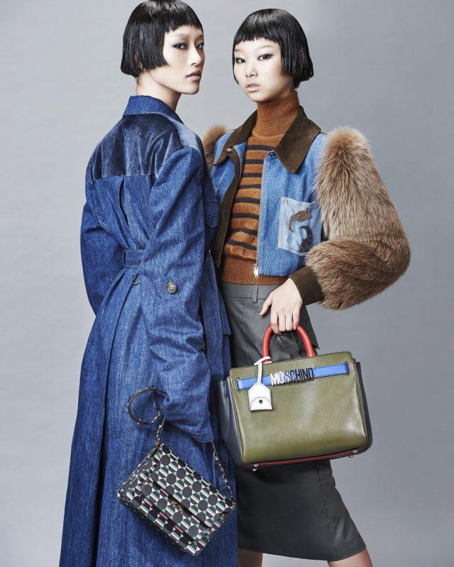 (왼쪽부터) 데님 코트는 Miu Miu, 도형 패턴의 백은 Marni 제품. 퍼 트리밍이 더해진 데님 재킷은 Sonia Rykiel, 스트라이프 터틀넥은 2백18만원, 미디스커트는 1백8만원으로 모두 Blumarine, 토트백은 Moschino 제품.