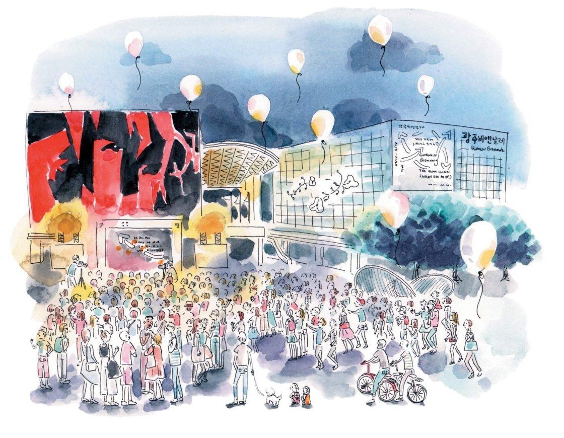 많은 사람들로 북적댄 광주비엔날레 개막식 전경.