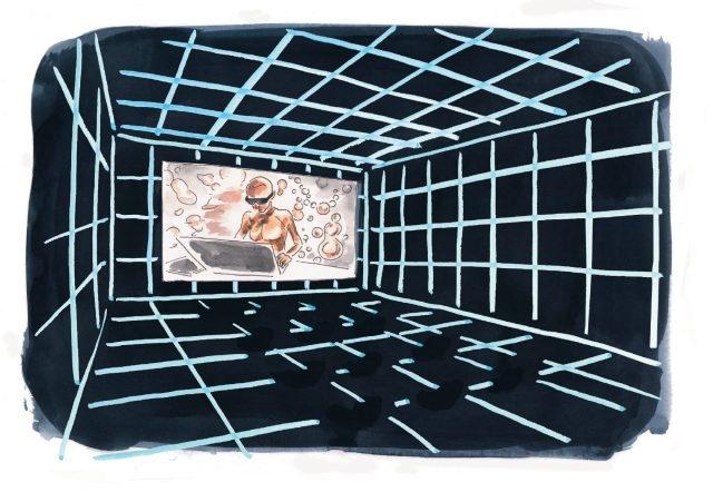 히토 슈타이얼의 대규모 비디오 설치 작품 '태양의 공장'은 마치 게임을 하듯이 즐길 수 있다.