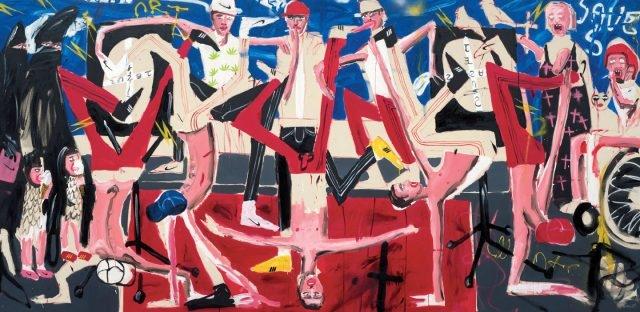 'Crucifixion', Oil, Acrylic and Spray Paint on Canvas, 200×400cm, 2016